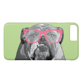 Bulldog with Pink Glasses Cute Funny Phone 7+ Case