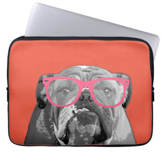 Bulldog with Pink Glasses Cute Funny Phone Case Computer Sleeve