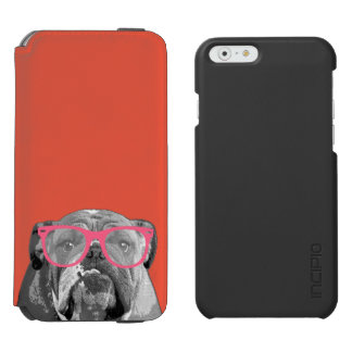 Bulldog with Pink Glasses Cute Funny Phone Case Incipio Watson™ iPhone 6 Wallet Case