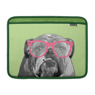 Bulldog with Pink Glasses Cute Funny Phone Case MacBook Sleeve