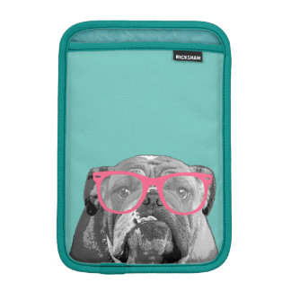 Bulldog with Pink Glasses Cute Funny Phone Case Sleeve For iPad Mini