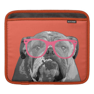 Bulldog with Pink Glasses Cute Funny Phone Case Sleeves For iPads