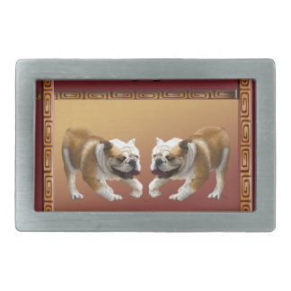 Bulldogs on Asian Design Chinese New Year, Dog Belt Buckles