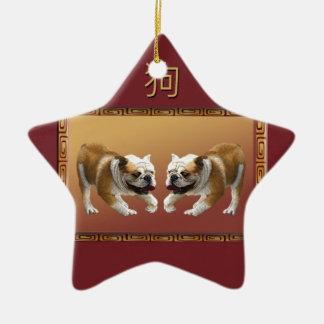 Bulldogs on Asian Design Chinese New Year, Dog Ceramic Ornament