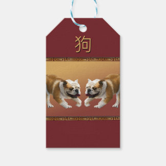 Bulldogs on Asian Design Chinese New Year, Dog Gift Tags