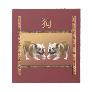 Bulldogs on Asian Design Chinese New Year, Dog Notepad