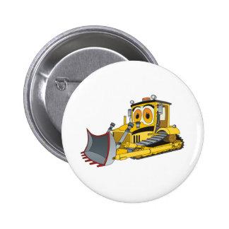 Bulldozer Cartoon Pinback Buttons