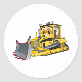 Bulldozer Cartoon Round Sticker