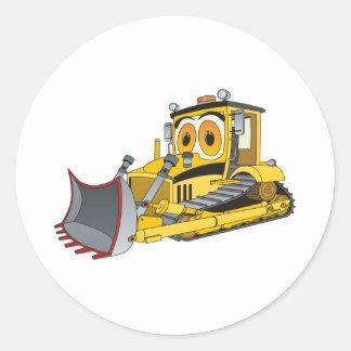 Bulldozer Cartoon Round Stickers