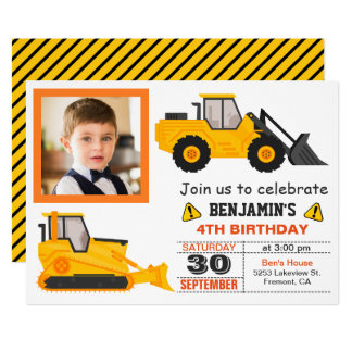Bulldozer Construction Kids Birthday Photo Invite