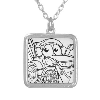 Bulldozer Digger Cartoon Character Silver Plated Necklace
