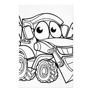 Bulldozer Digger Cartoon Character Stationery