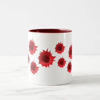 bullet hole cup Two-Tone coffee mug