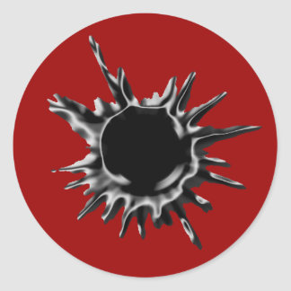 Bullet hole shot classic round sticker