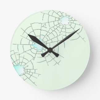 Bullet Holes in Glass Round Clock
