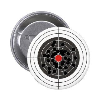 Bullet holes in target - but not the bulls-eye! 6 cm round badge
