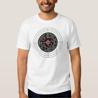 Bullet holes in target - but not the bulls-eye! t-shirts