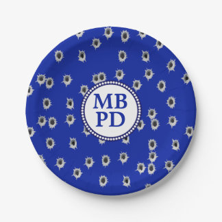 Bullet Holes Police Department Celebration Paper Plate