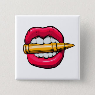 bullet in mouth. 15 cm square badge