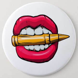 bullet in mouth. 6 cm round badge