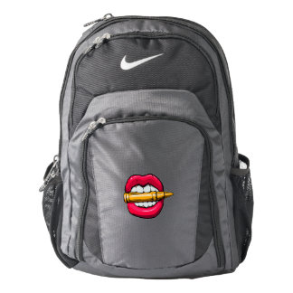 bullet in mouth. backpack