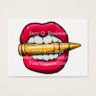 bullet in mouth. business card