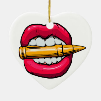 bullet in mouth. ceramic ornament
