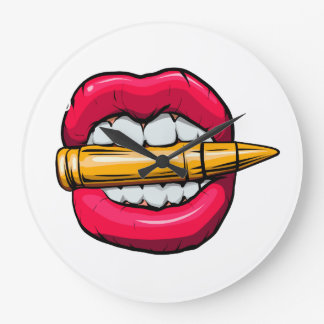 bullet in mouth. large clock