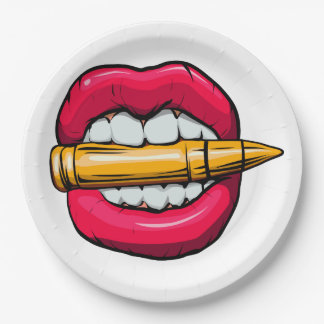 bullet in mouth. paper plate