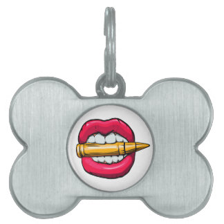bullet in mouth. pet name tag