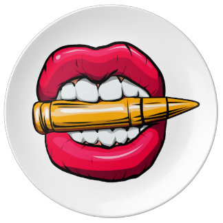 bullet in mouth. plate
