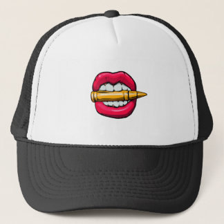 bullet in mouth. trucker hat