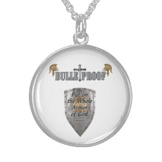 """Bulletproof Logo"" Sterling Silver Round Necklace"