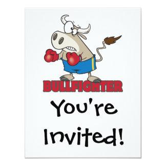 "bullfighter funny boxer bull cartoon character 4.25"" x 5.5"" invitation card"