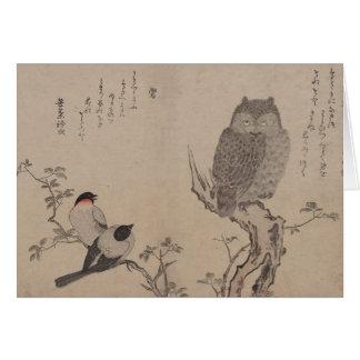 Bullfinch and horned owl - Kitagawa Utamaro Card