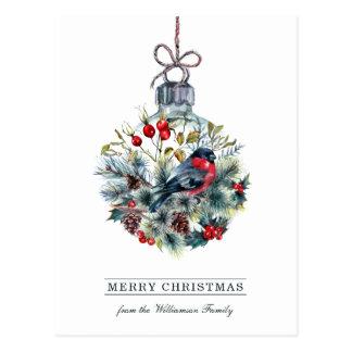 Bullfinch Glass Ball Christmas Postcard