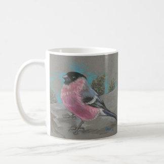 Bullfinch on a cliff coffee mug