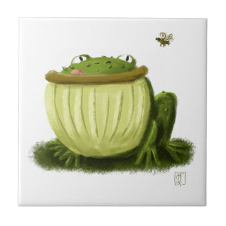 Bullfrog and Fly Illustration Art Small Square Tile
