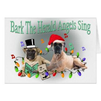 Bullmastiff Bark The Herald Angels Sing Cards