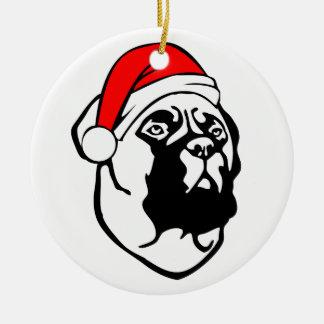 Bullmastiff Dog with Christmas Santa Hat Ceramic Ornament