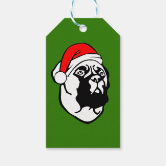 Bullmastiff Dog with Christmas Santa Hat Gift Tags