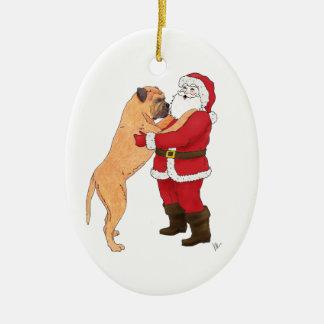 Bullmastiff Jowly Christmas Greeting Ceramic Oval Decoration