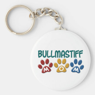 BULLMASTIFF MOM Paw Print 1 Basic Round Button Key Ring