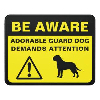 Bullmastiff Silhouette Funny Guard Dog Warning Door Sign