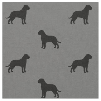 Bullmastiff Silhouettes Pattern Fabric
