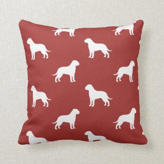 Bullmastiff Silhouettes Pattern Red Cushion