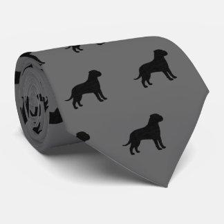 Bullmastiff Silhouettes Pattern Tie