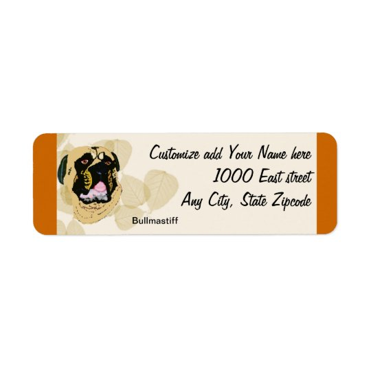 Bullmastiff Tan Leaves Return Address Label