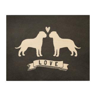 Bullmastiffs Love - Dog Silhouettes w/ Heart Wood Prints