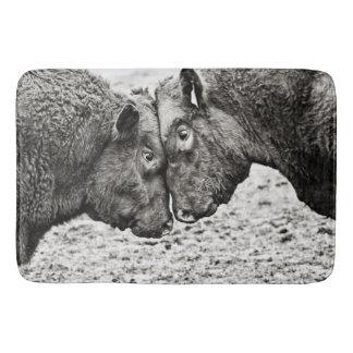Bulls Butting Heads Photo Bath Mat